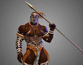 3D Native African Warrior Male