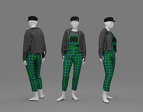 3D Female rock stile costume