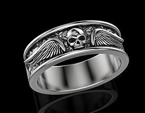 Skull wings ring many sizes printabl 3D printable model