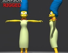 Marge Simpson model rigged 3D