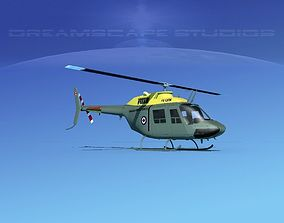 3D model animated Bell OH-58B Canadian Army 3