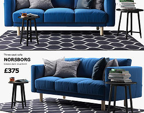 3D IKEA NORSBORG Three-seat sofa with coffee tables and