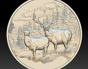 Deer in the mountains Coin - relief - 3D printable model