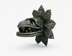 Stone serpent head Quetzalcoatl 3D asset