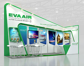 Booth EVA airline design Size 6X2 m 12 sqm 3D asset