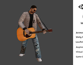 animated T-Vice Guitar Player Animated Low Poly 3D Model 3
