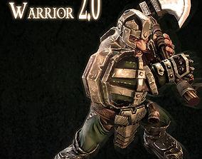 Dwarf warrior animated game model animated