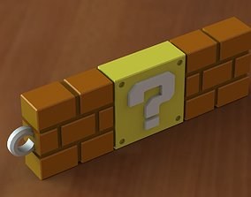 Block question super mario keychain 3D print model