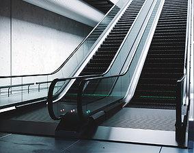 Rigged subway escalator scene 3D model animated