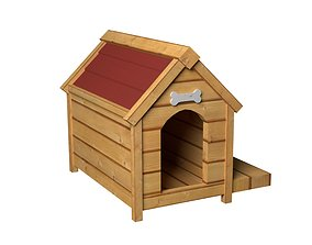 3D asset game-ready Kennel Dog House Wooden