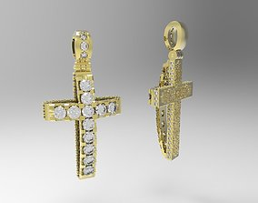 Ornamented cross with gems 3D print model