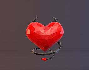 Low Poly Devil Heart 3D model low-poly