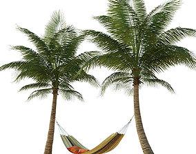 Hammock on palm trees 3D model