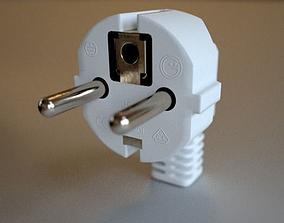 Continental European Type E male power plug 3D model