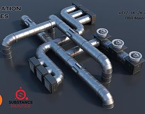 3D asset Modular Ventilation Pipes PBR