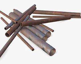 Steel Rusted Pipes 3D model