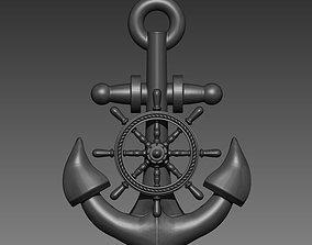 3D print model Anchor Sheep Wheel Pendant