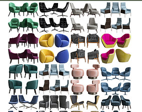 Collection of Armchairs 3d model 15 pieces realtime