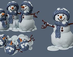 3D model christmas carrot snowman