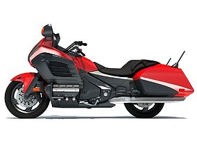 Red Goldwing Motorcycle 3D model