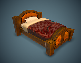 Stylized Cartoon Bed 3D model low-poly