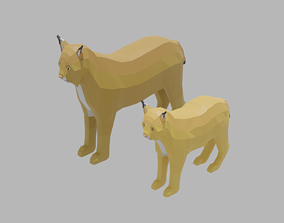 Cartoon Lynx Family 3D model