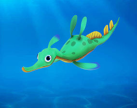 Cartoon Hippocampus Rigged Animated 3D
