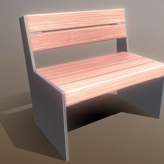Park Bench 8 Teak Gray Metal Frame 1 (Blender-2.93)