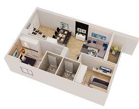 Cutaway apartment full furnitures in modern design 3D 1