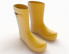 Yellow Wellington boots with buckles 3D model