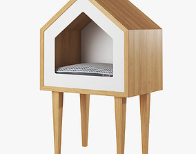 3D Oak wood cat house