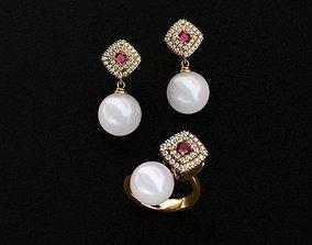 Ring and Earrings tanzanite 3D printable model