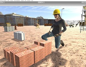 Working woman Low-poly 3D model other animated