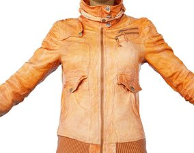 Jacket Light Brown Leather Closed Clothing Women 3D asset
