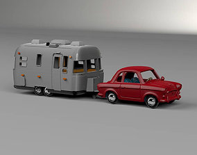 Airstream Trailer and Towing Vehicle 3D printable model