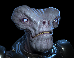 3D model Alien in armored suit
