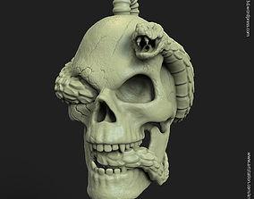 3D print model Biker snake skull vol11 Pendant