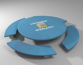 Among Us - Emergency Table Low-poly 3D model realtime