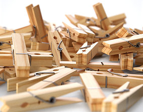 3D model Wooden Clothes Peg