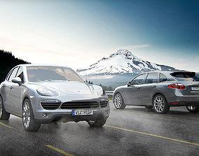 3D Luxury gray SUV