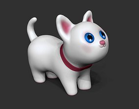 White cute cat - 3d printable 3d model - STL