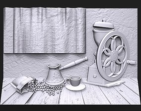 3D printable model Still life with coffee bas relief for 1