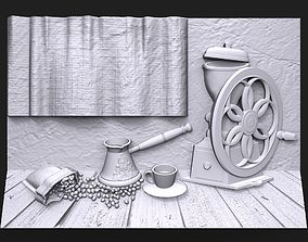 3D print model Still life with coffee bas relief for CNC