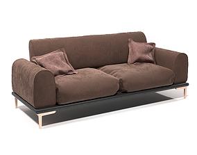 3D model beautiful brown sofa