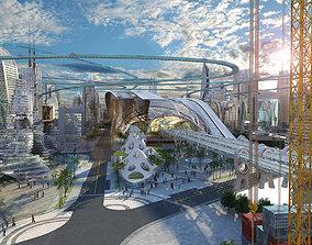3D model future city technopolis