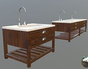 bathroom vanity set 3D model game-ready