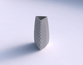 3D printable model Vase triangle with grid piramides 1