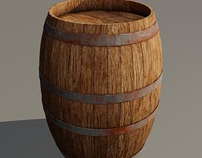 3D Medieval wooden barrel