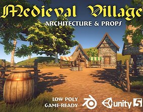 Medieval Village Pack 3D model game-ready