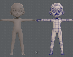 3D asset model Base mesh boy character V03